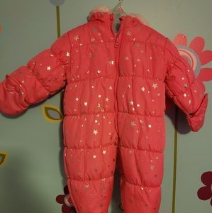 Baby Girl Pink Snow Suit with Hood